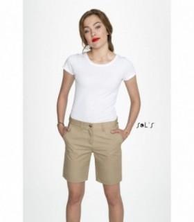 JASPER WOMEN Sol's  - 2762 - BERMUDA CHINO FEMME |  JASPER WOMEN - 2762 - BERMUDA CHINO FEMME  Fermeture zippéePassants ceinture2 poches à l'italienne1 poche ticket2 poches dos passepoilées100% coton