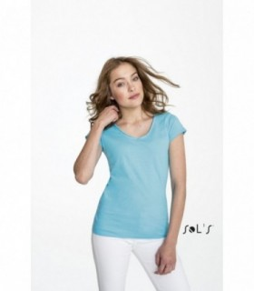 "MILD Sol's  - 11387 - TEE-SHIRT FEMME COL ""V'' FINITIONS BORDS FRANCS ROULOTTÉS 