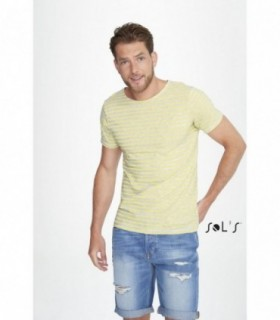 MILES MEN Sol's  - 1398 - TEE-SHIRT HOMME COL ROND RAYÉ
