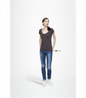 """MUST WOMEN Sol's  - 11402 - TEE-SHIRT FEMME COL ROND EN JERSEY FIN    MUST WOMEN - 11402 - TEE-SHIRT FEMME COL ROND EN JERSEY FIN  Nouveau jersey fin 110 g/m², très doux et modeNoupe très féminine et moderne avec ce profond décolleté rondEtiquette taille à l'encolure """"private label"""" destinée aussi bien au marché pr"""