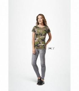 CAMO WOMEN  Sol's - 1187 - TEE-SHIRT FEMME COL ROND Sol's personnalisé [product_short_desc]